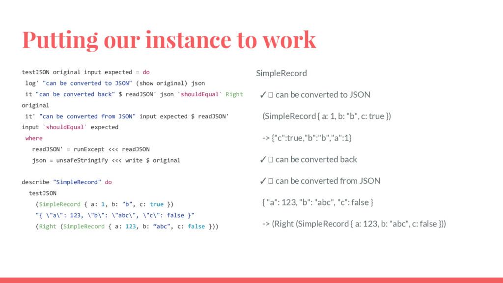 Putting our instance to work testJSON original ...