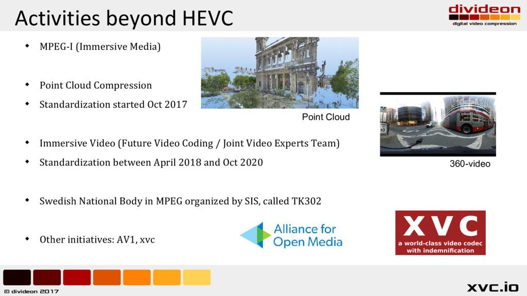 © divideon 2017 xvc.io Activities beyond HEVC ...