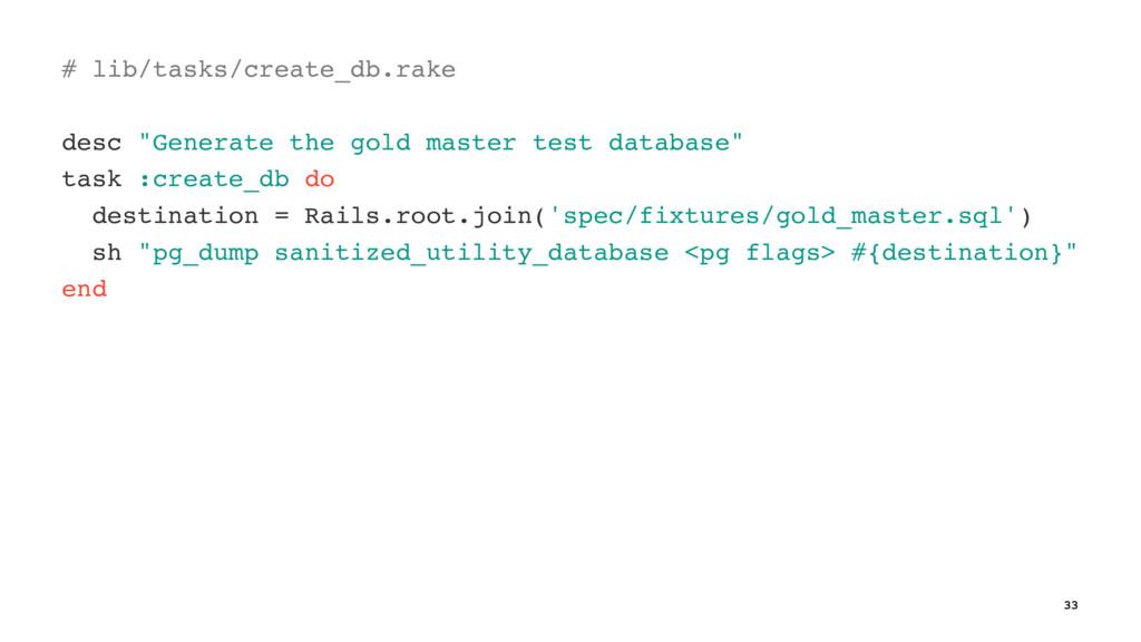 "# lib/tasks/create_db.rake desc ""Generate the g..."