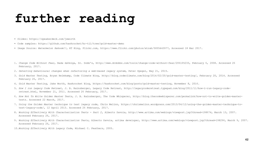 further reading • Slides: https://speakerdeck.c...