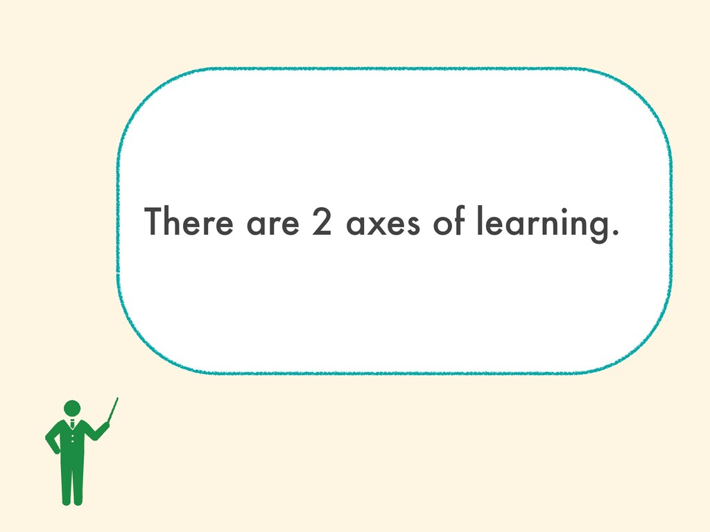 There are 2 axes of learning.