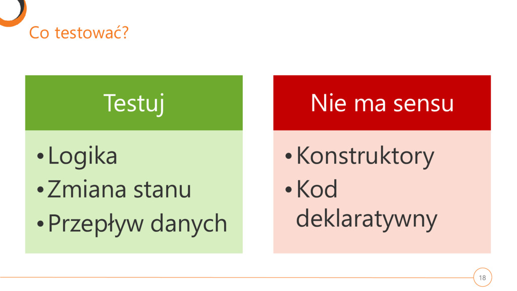 Co testować? Testuj •Logika •Zmiana stanu •Prze...