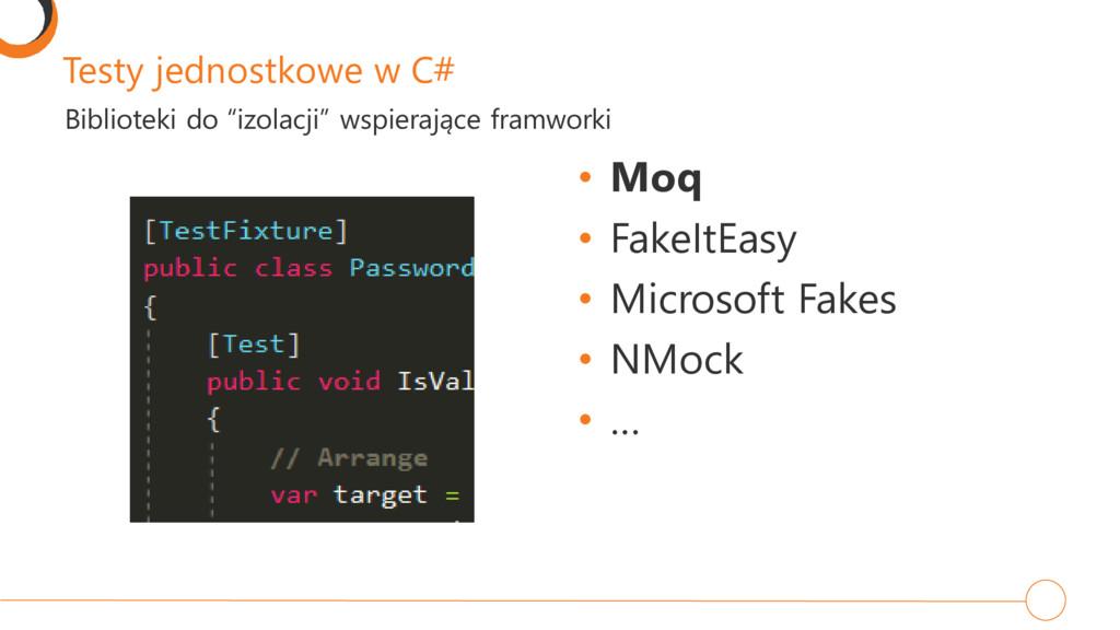 Testy jednostkowe w C# • Moq • FakeItEasy • Mic...