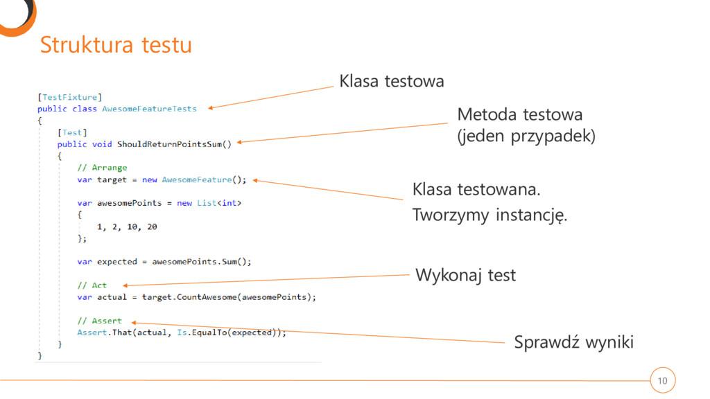 Struktura testu 10 Klasa testowa Metoda testowa...