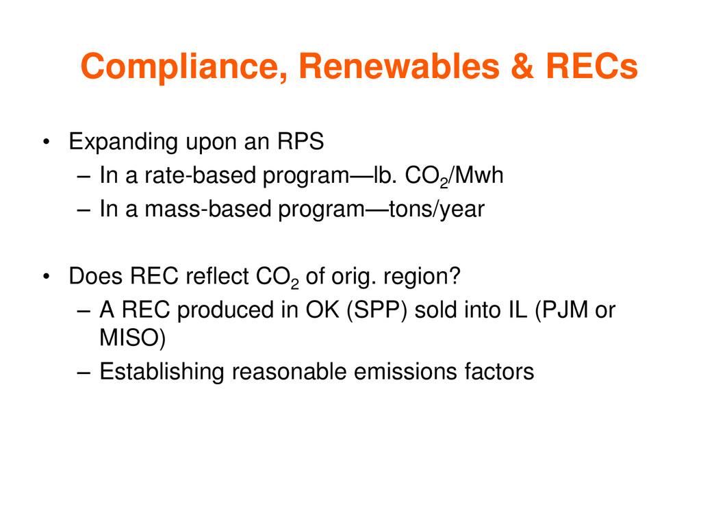 Compliance, Renewables & RECs • Expanding upon ...
