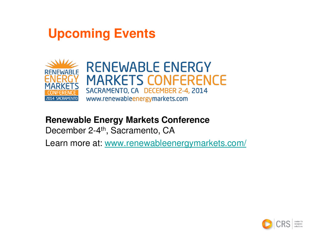 Upcoming Events Renewable Energy Markets Confer...