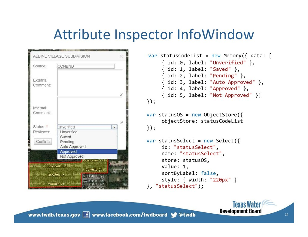 Attribute Inspector InfoWindow 14 var statusCod...