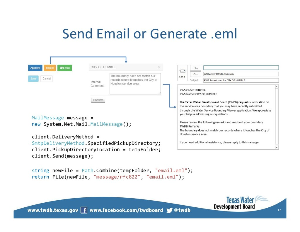 Send Email or Generate .eml 17 MailMessage mess...
