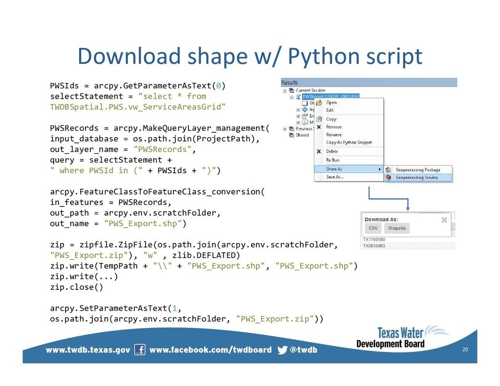 Download shape w/ Python script 20 PWSIds = arc...