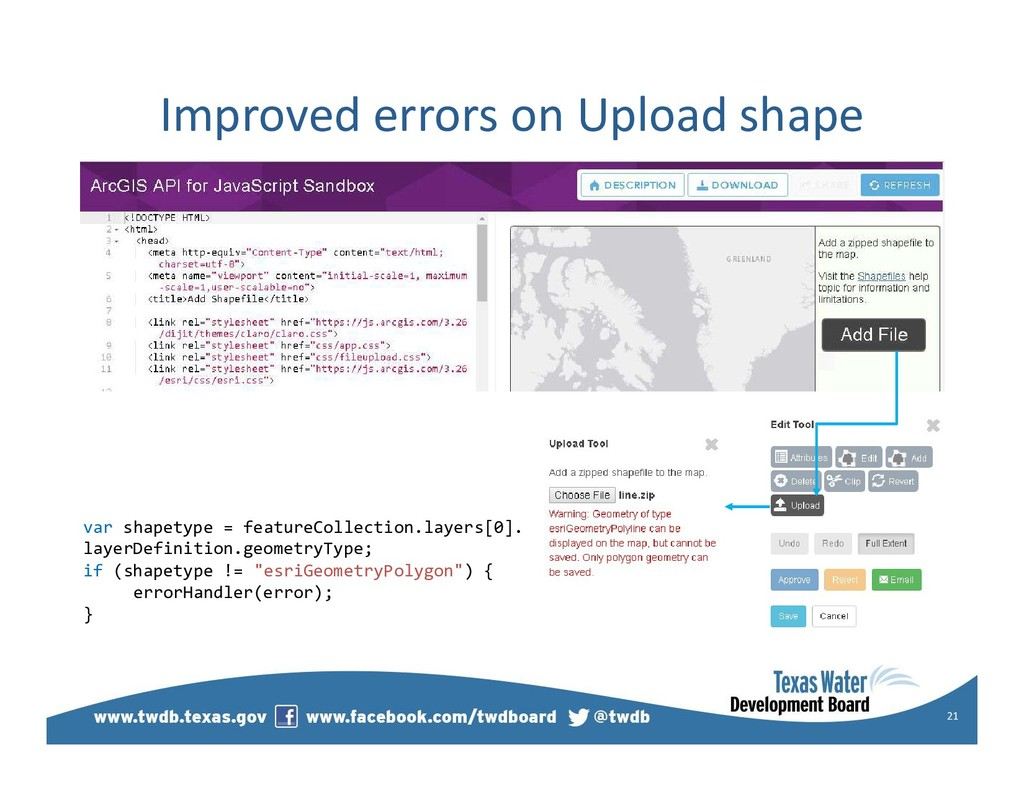 Improved errors on Upload shape 21 var shapetyp...