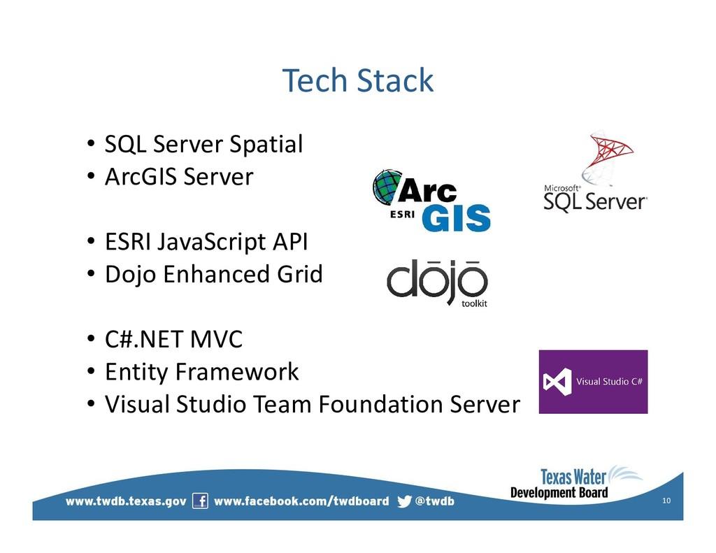 Tech Stack • SQL Server Spatial • ArcGIS Server...