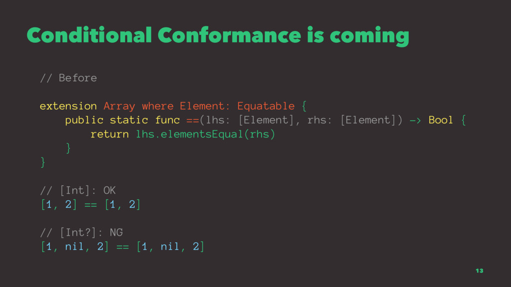 Conditional Conformance is coming // Before ext...