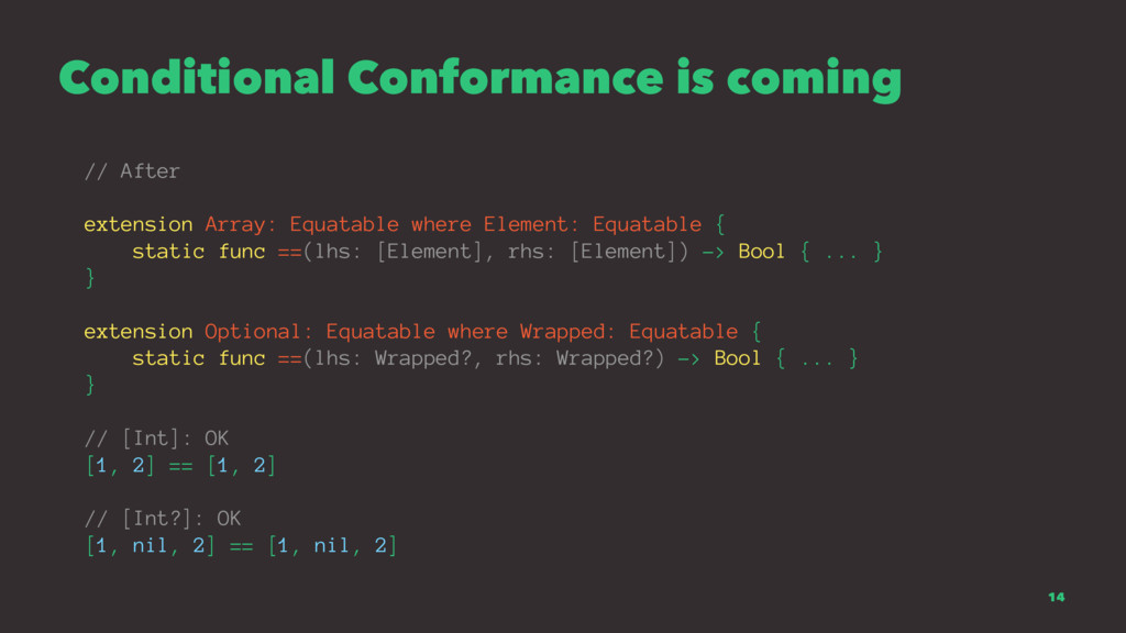 Conditional Conformance is coming // After exte...