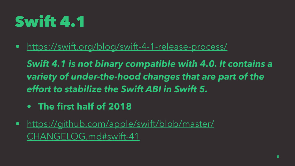 Swift 4.1 • https://swift.org/blog/swift-4-1-re...