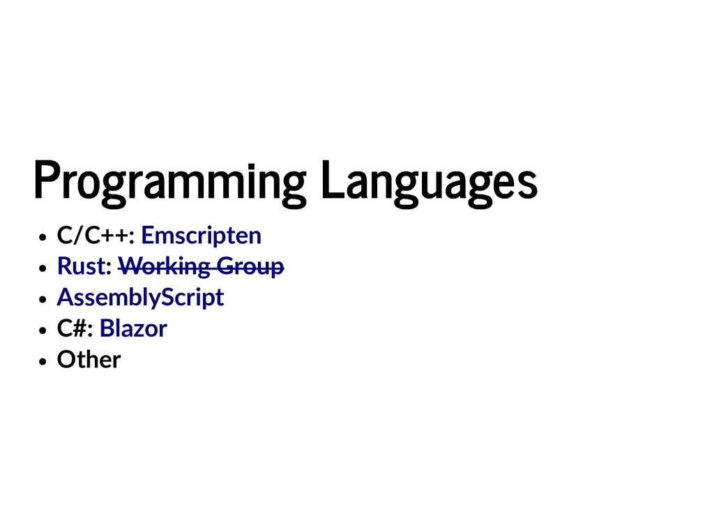Programming Languages Programming Languages C/C...