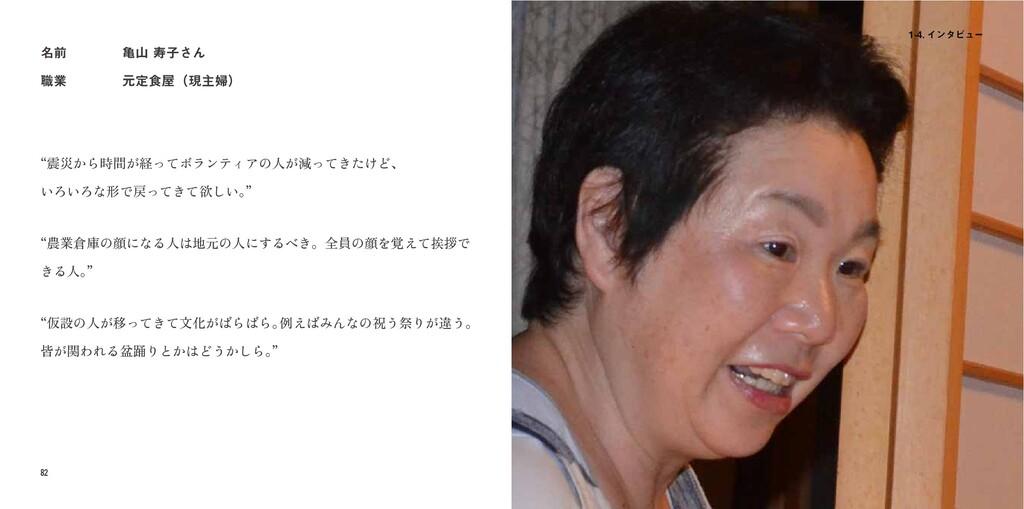 """82 83  ΠϯλϏϡʔ ໊લ ৬ۀ ُणࢠ͞Μ ݩఆ৯ʢݱओ්ʣ """"震災から..."""