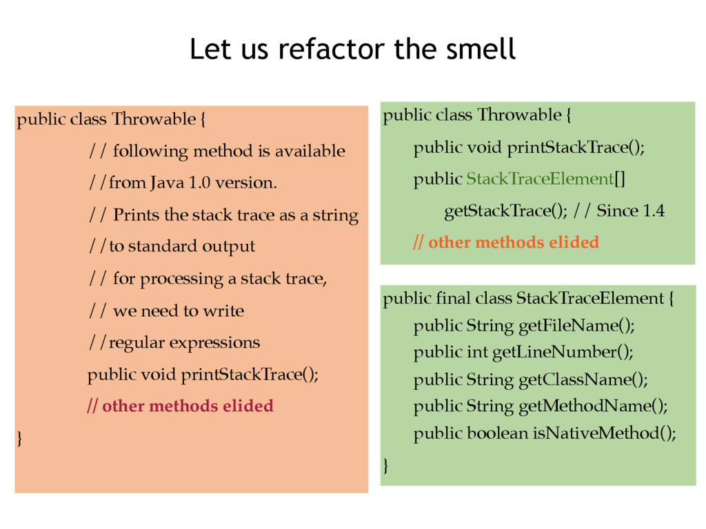 Let us refactor the smell public class Throwabl...