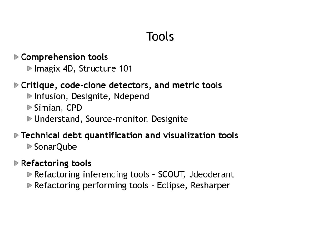Tools Comprehension tools Imagix 4D, Structure ...