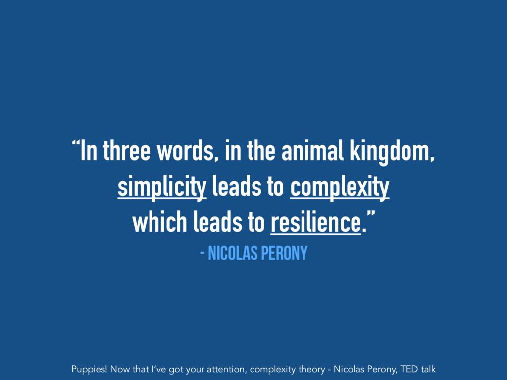 """In three words, in the animal kingdom, simplic..."
