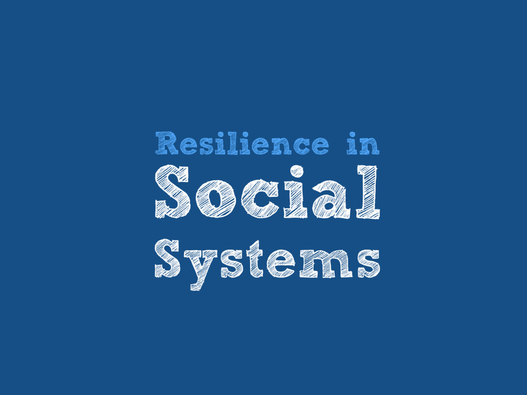 Resilience in Social Systems