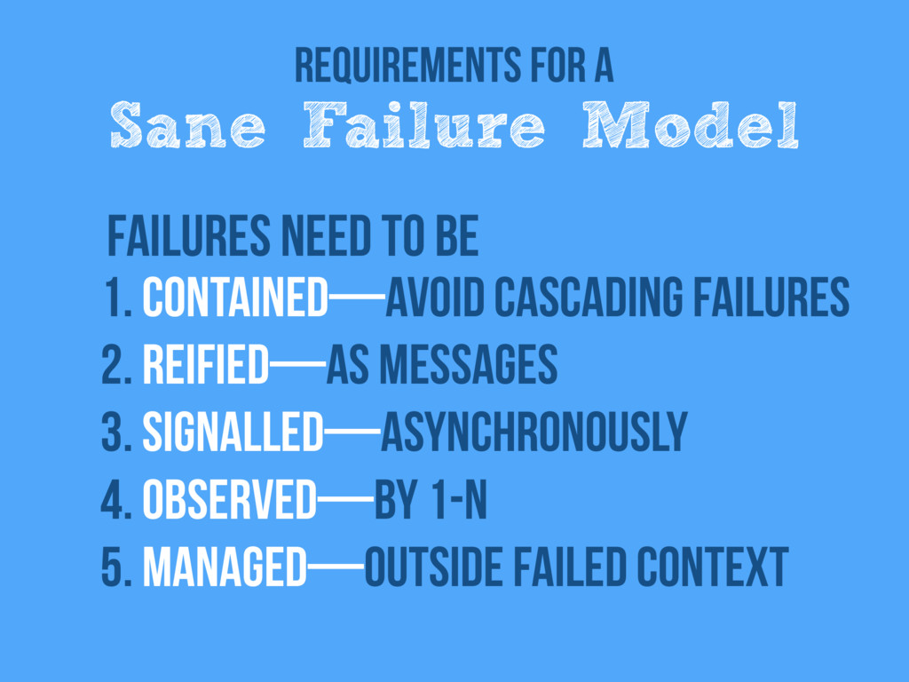 Requirements for a Sane Failure Model 1. Contai...