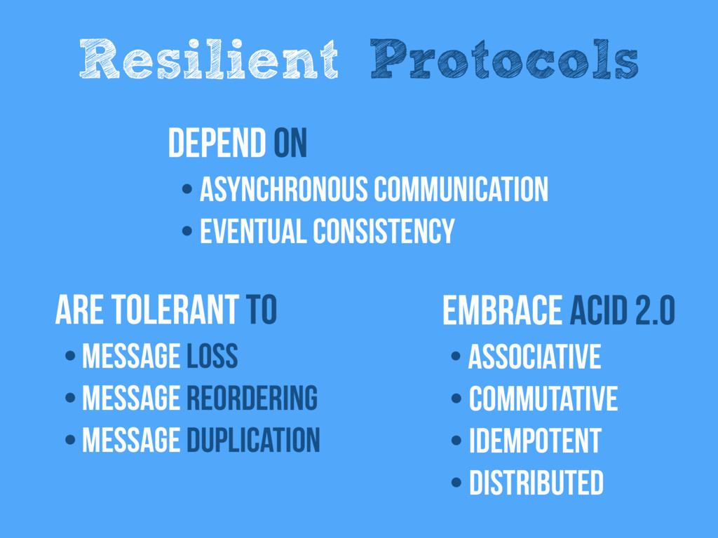 Resilient Protocols are tolerant to • Message l...