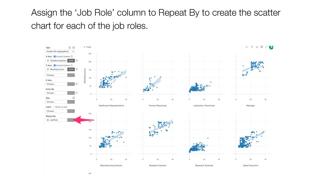 Assign the 'Job Role' column to Repeat By to cr...