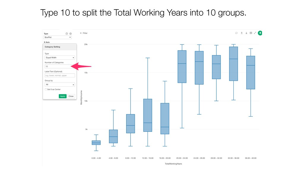 Type 10 to split the Total Working Years into 1...