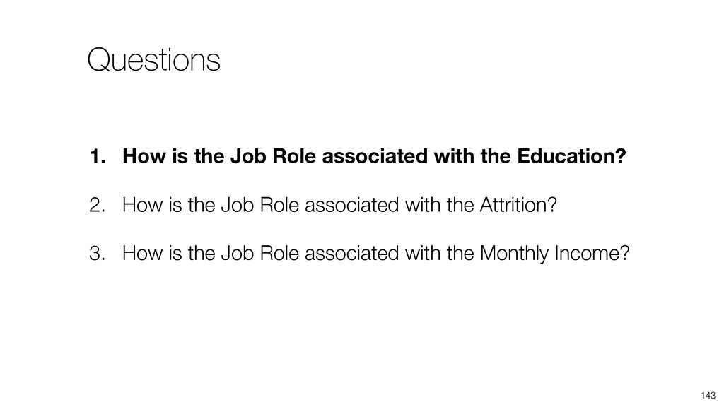 143 1. How is the Job Role associated with the ...