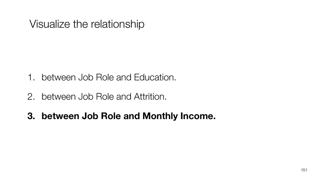 151 1. between Job Role and Education. 2. betwe...