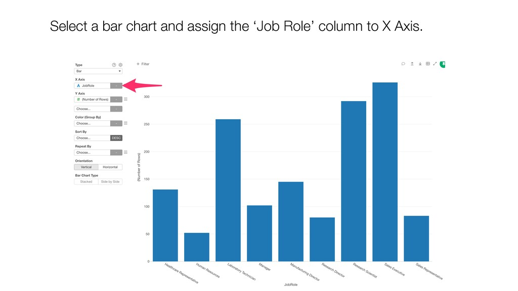 Select a bar chart and assign the 'Job Role' co...