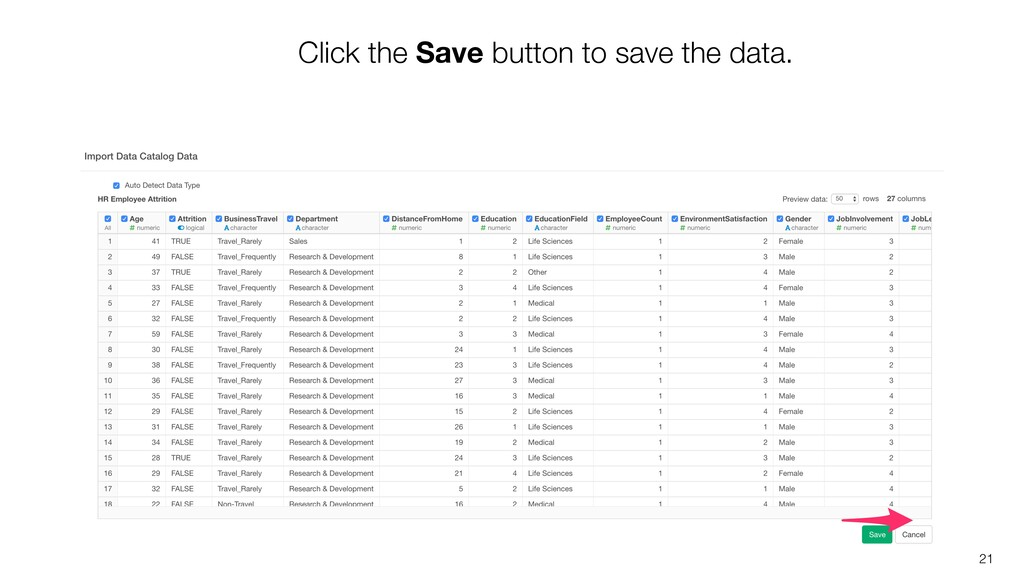 21 Click the Save button to save the data.