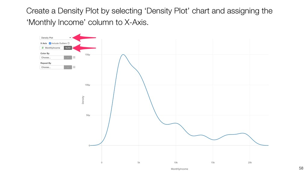 58 Create a Density Plot by selecting 'Density ...