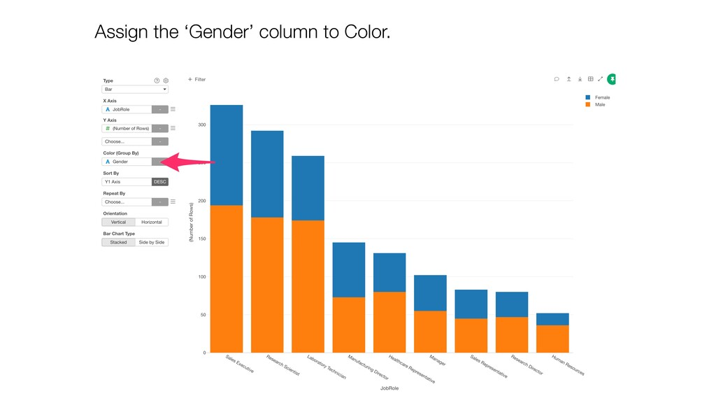 Assign the 'Gender' column to Color.