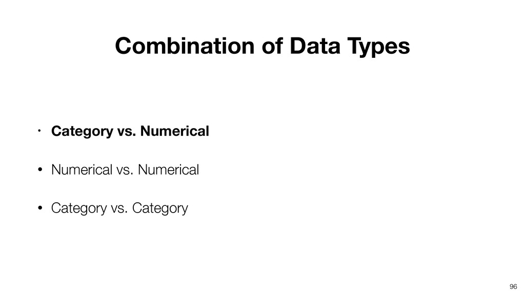 96 • Category vs. Numerical • Numerical vs. Num...