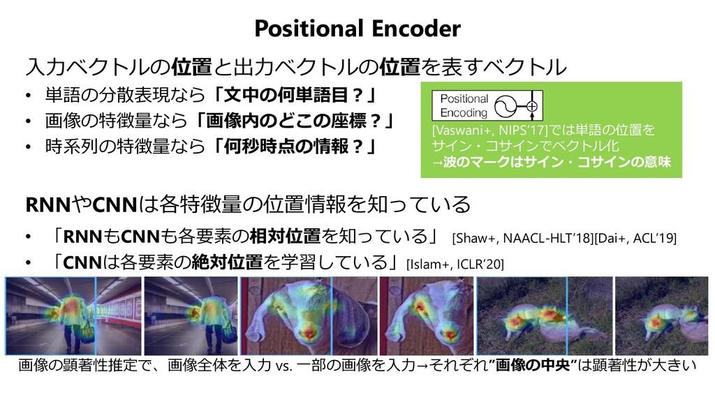 Positional Encoder 入力ベクトルの位置と出力ベクトルの位置を表すベクトル •...
