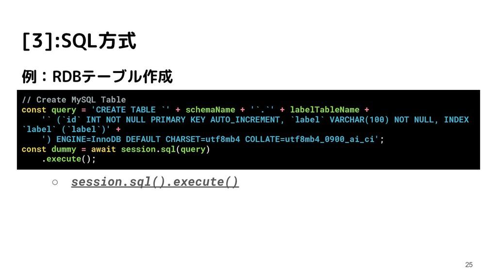 [3]:SQL方式 例:RDBテーブル作成 ○ session.sql().execute()...