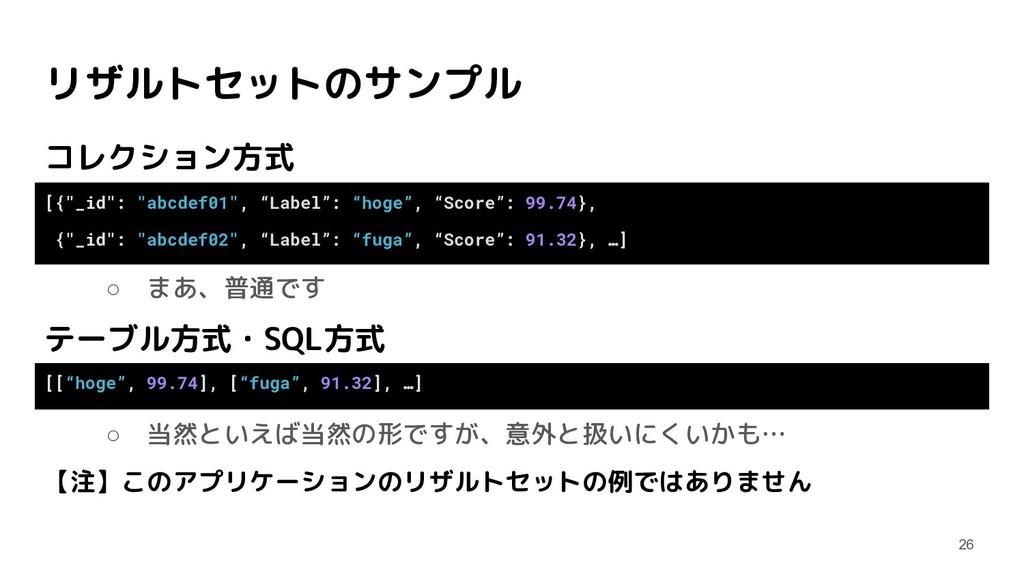 リザルトセットのサンプル コレクション方式 ○ まあ、普通です テーブル方式・SQL方式 ○ ...