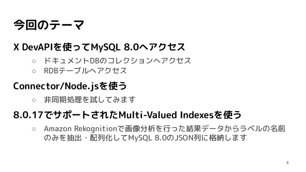 今回のテーマ X DevAPIを使ってMySQL 8.0へアクセス ○ ドキュメントDBのコレ...