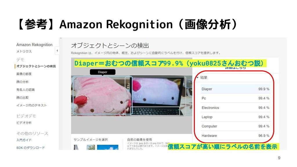 【参考】Amazon Rekognition(画像分析) Diaper=おむつの信頼スコア99...