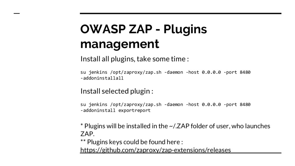 OWASP ZAP - Plugins management Install all plug...