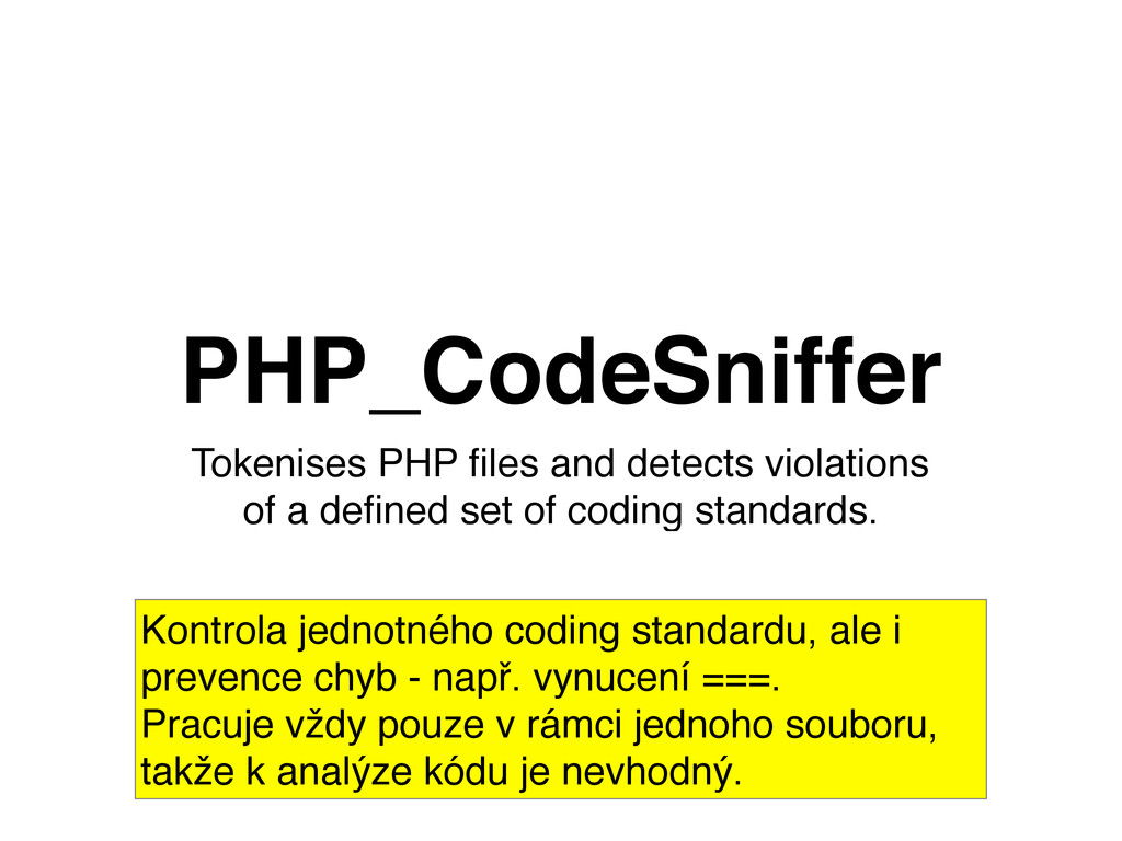 Tokenises PHP files and detects violations of a ...