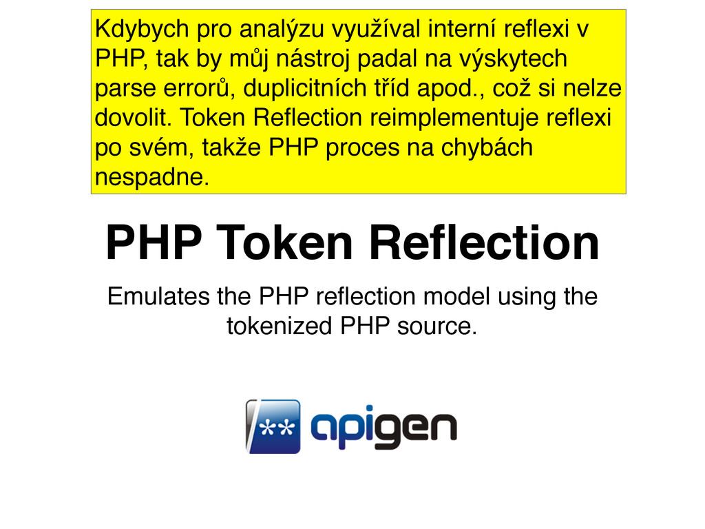 Emulates the PHP reflection model using the toke...