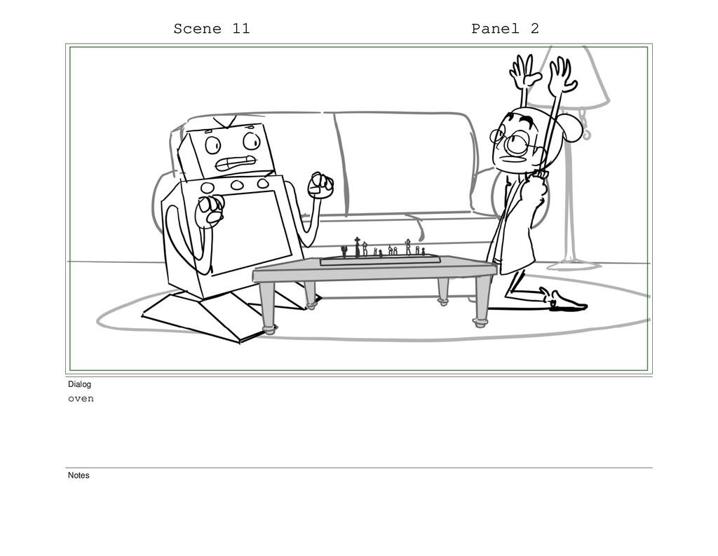 Scene 11 Panel 2 Dialog oven Notes