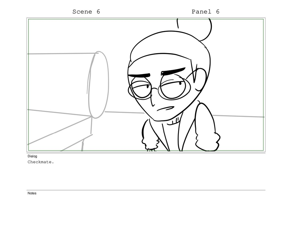 Scene 6 Panel 6 Dialog Checkmate. Notes