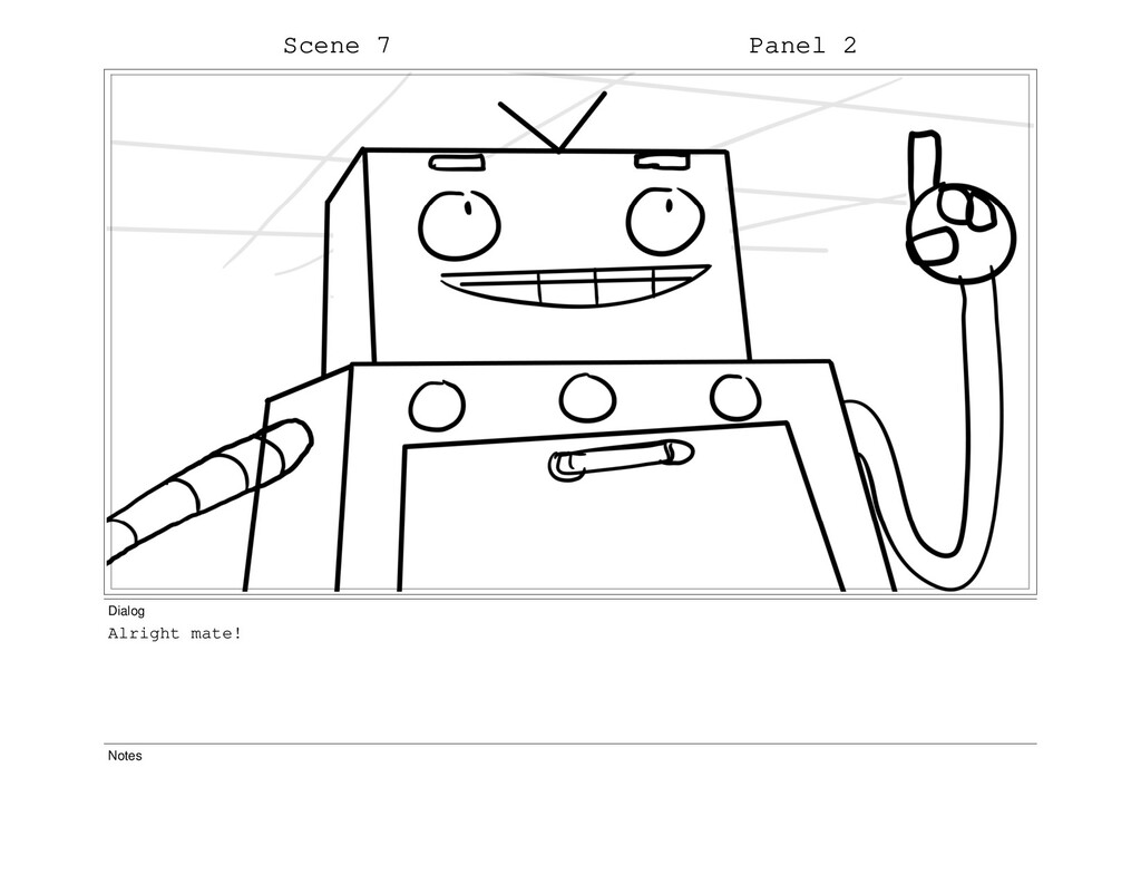 Scene 7 Panel 2 Dialog Alright mate! Notes