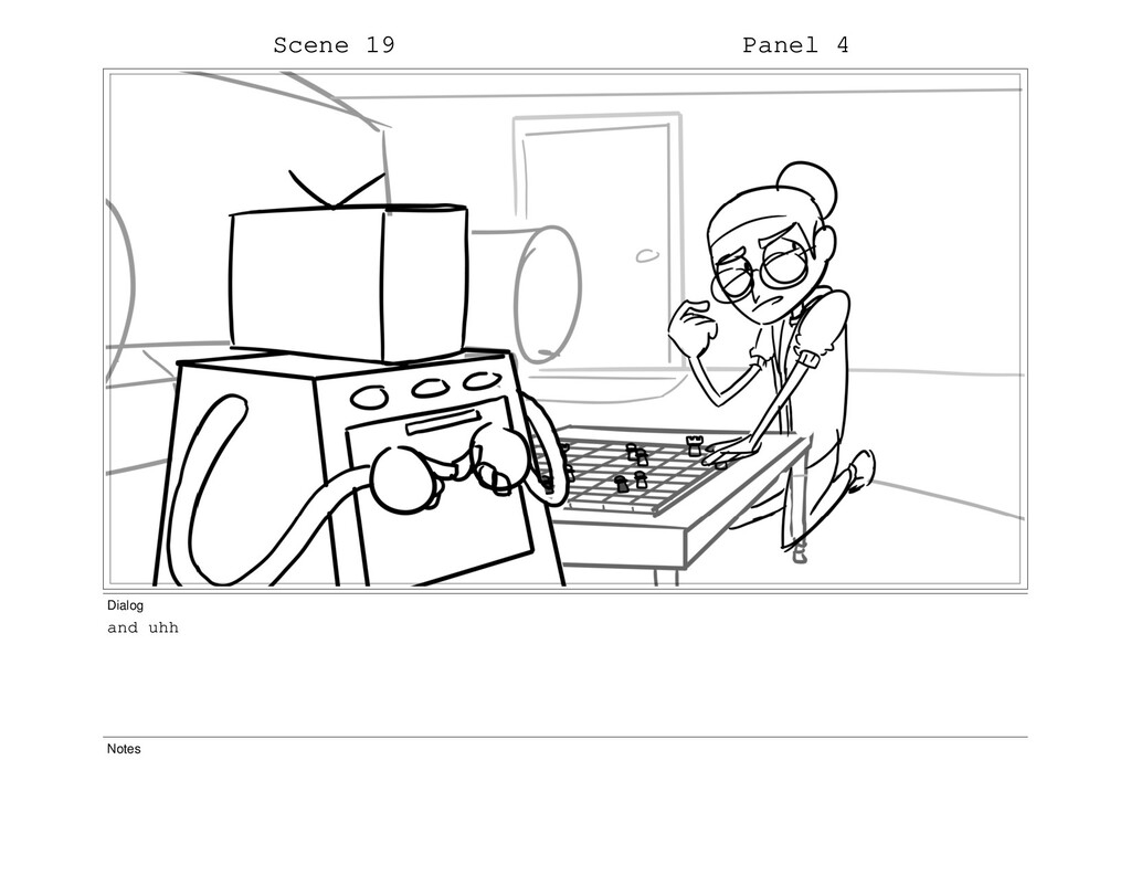 Scene 19 Panel 4 Dialog and uhh Notes