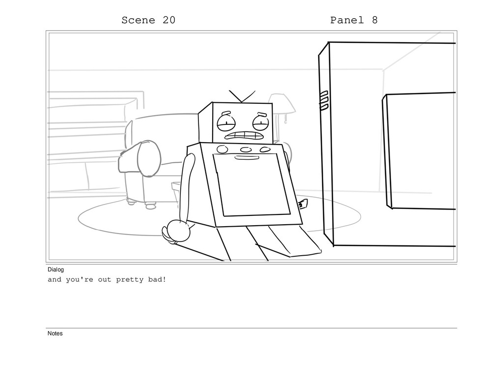 Scene 20 Panel 8 Dialog and you're out pretty b...