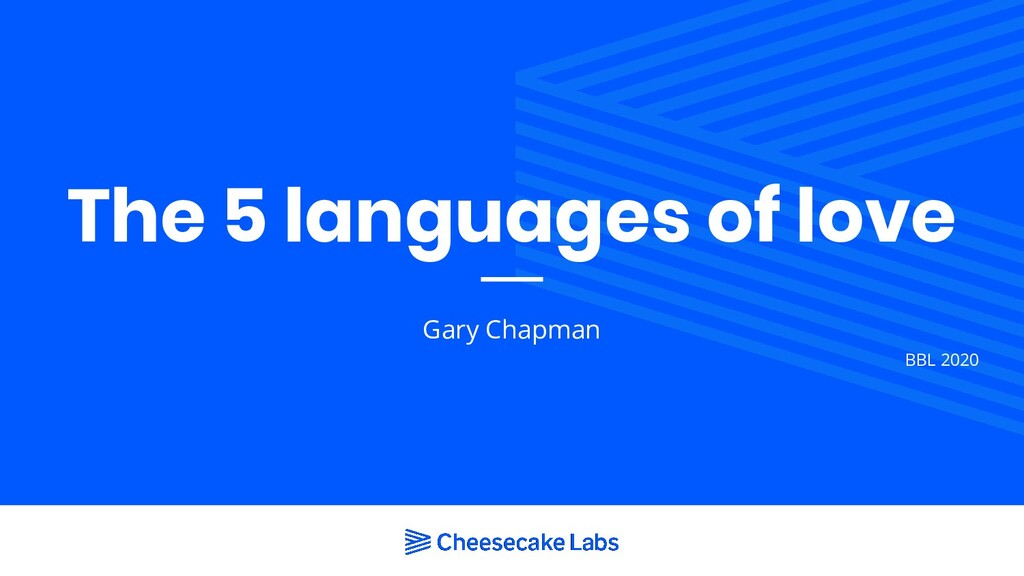 The 5 languages of love Gary Chapman BBL 2020