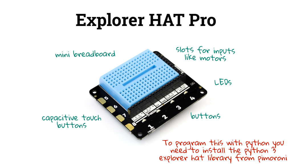 Explorer HAT Pro mini breadboard capacitive tou...